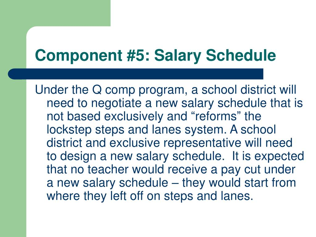 Component #5: Salary Schedule
