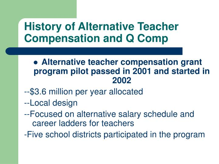 History of alternative teacher compensation and q comp