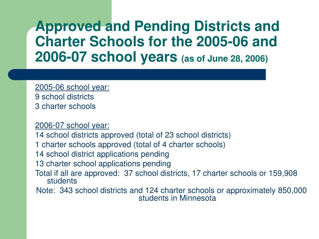 Approved and Pending Districts and Charter Schools for the 2005-06 and 2006-07 school years