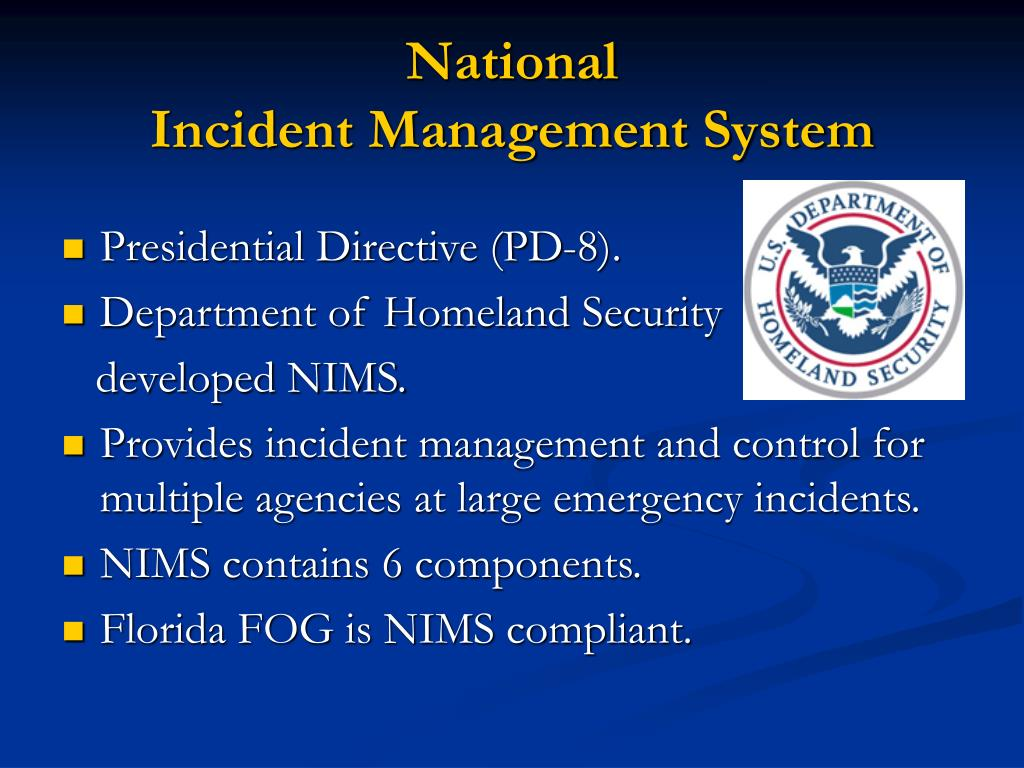 national incident management system The national incident management system (nims) was established by fema and includes the incident command system (ics.