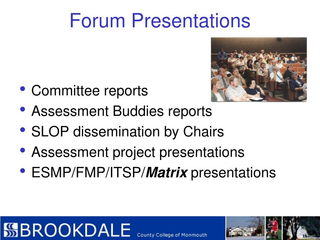 Forum Presentations