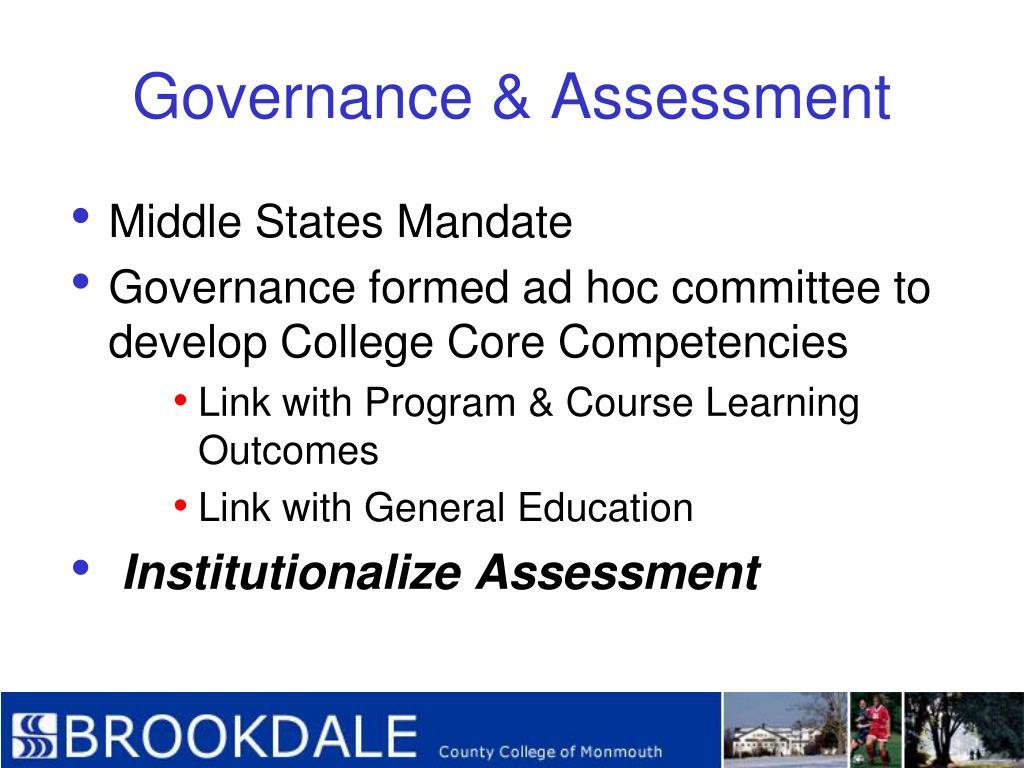 Governance & Assessment
