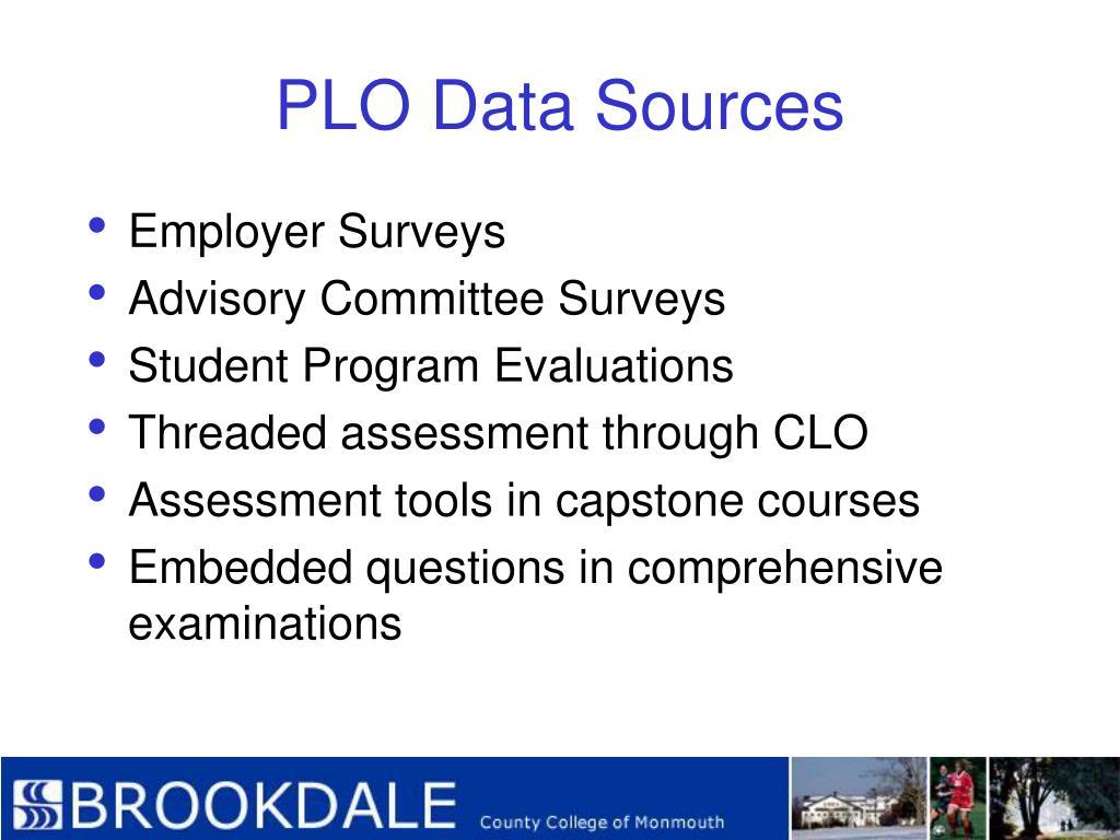 PLO Data Sources