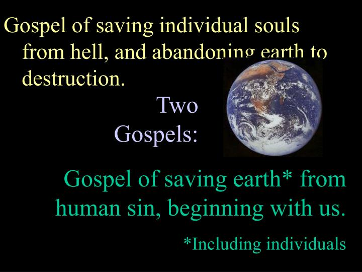 Gospel of saving individual souls from hell, and abandoning earth to destruction.