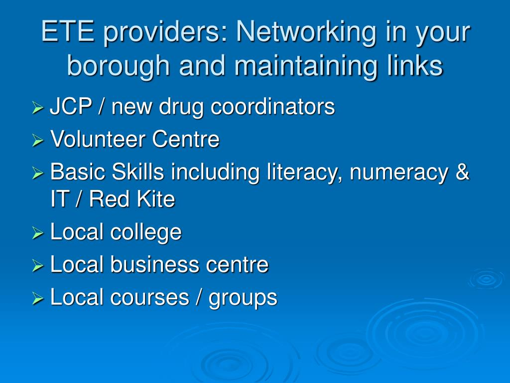 ETE providers: Networking in your borough and maintaining links