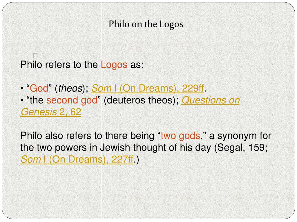Philo on the Logos
