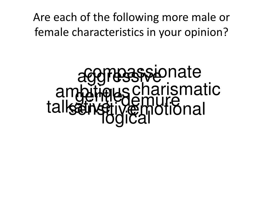 Are each of the following more male or female characteristics in your opinion?