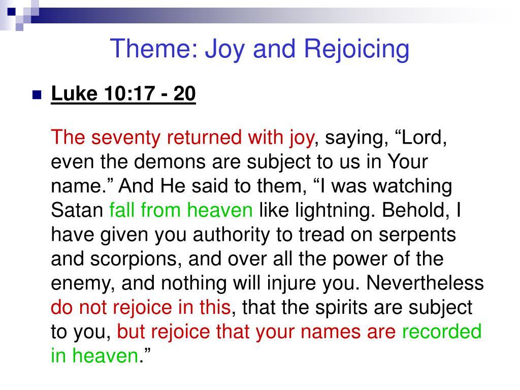 Theme: Joy and Rejoicing