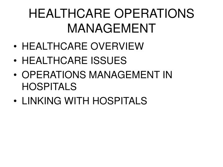Healthcare operations management2