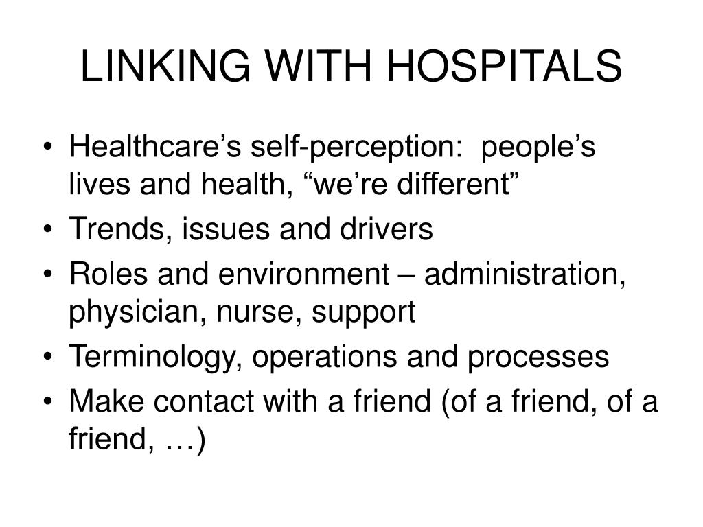 LINKING WITH HOSPITALS