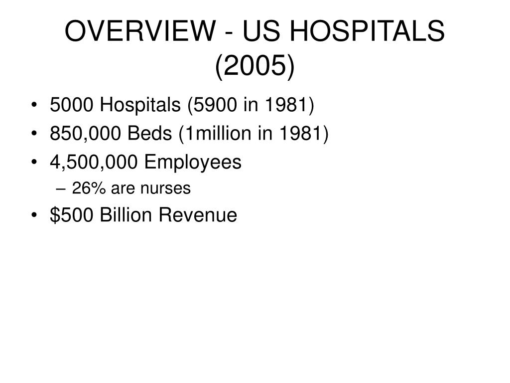 OVERVIEW - US HOSPITALS (2005)