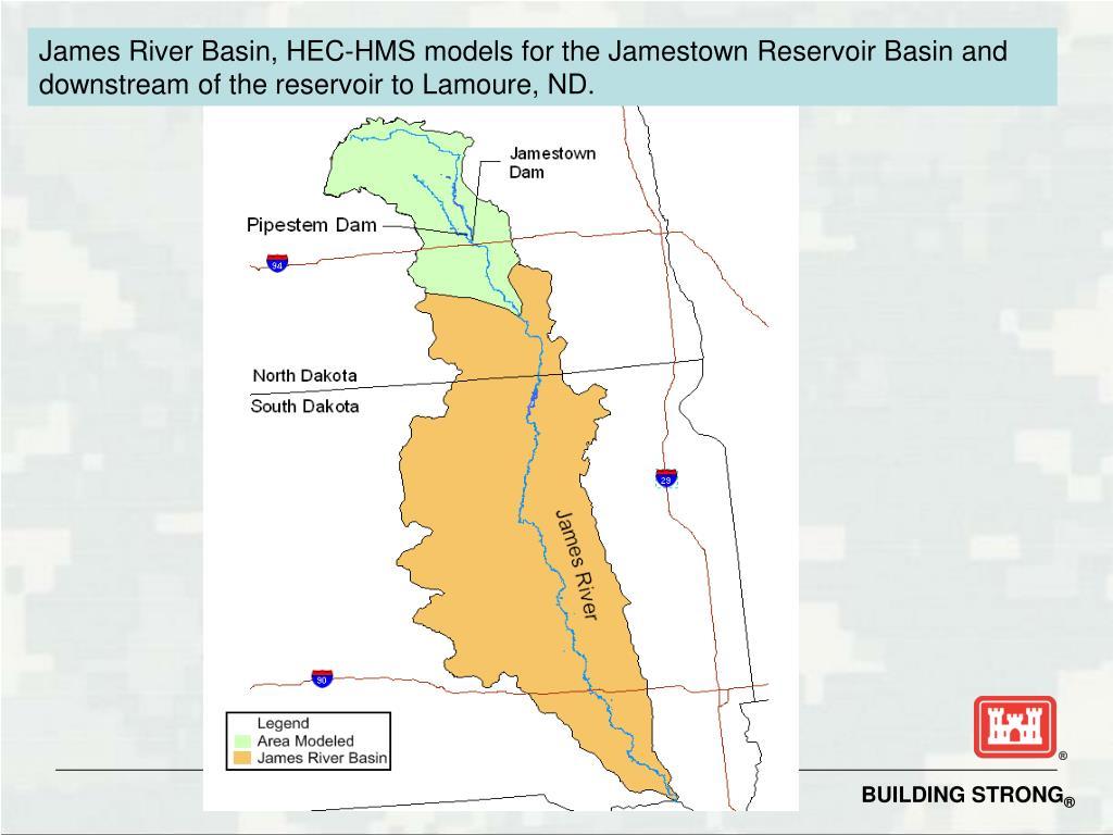James River Basin, HEC-HMS models for the Jamestown Reservoir Basin and downstream of the reservoir to Lamoure, ND.