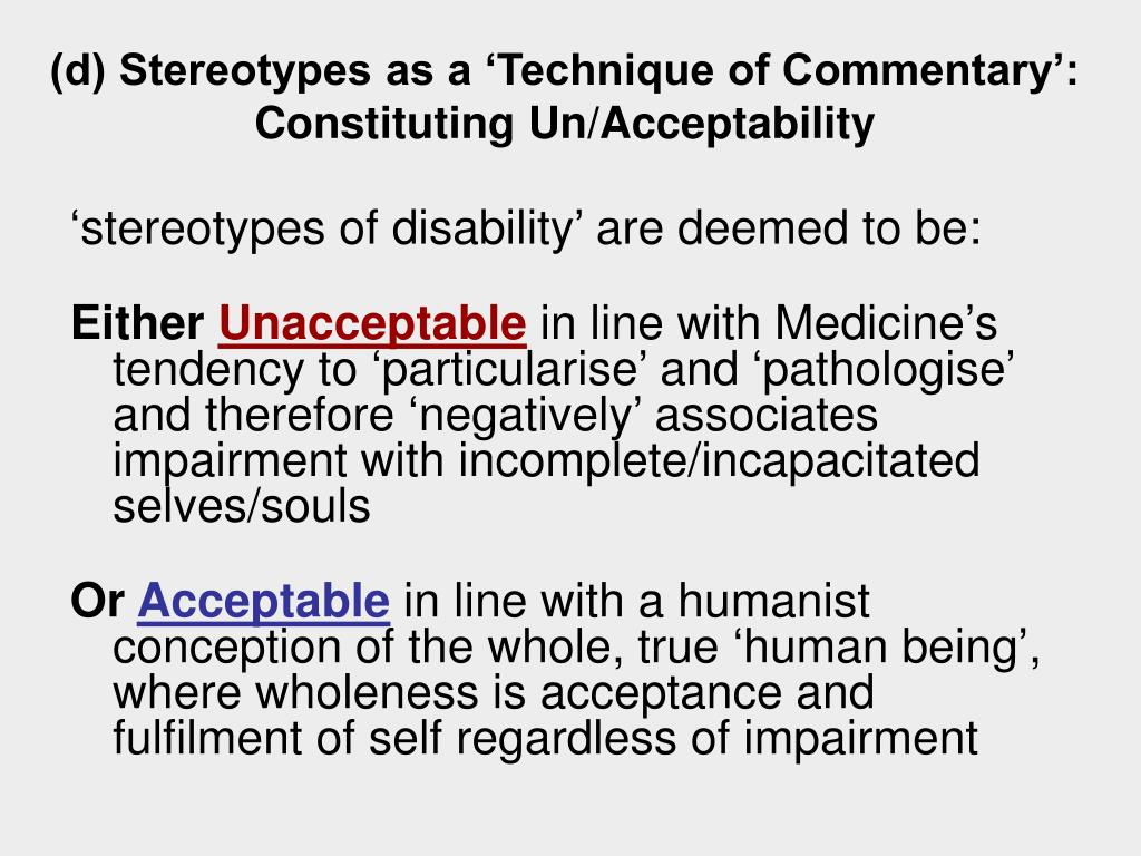 (d) Stereotypes as a 'Technique of Commentary': Constituting Un/Acceptability