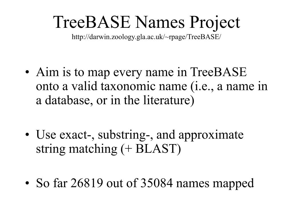 TreeBASE Names Project