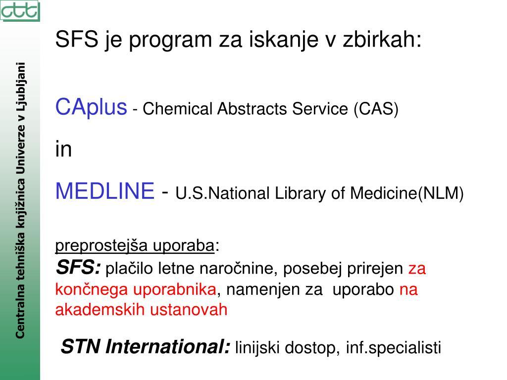 SFS je program za iskanje v zbirkah: