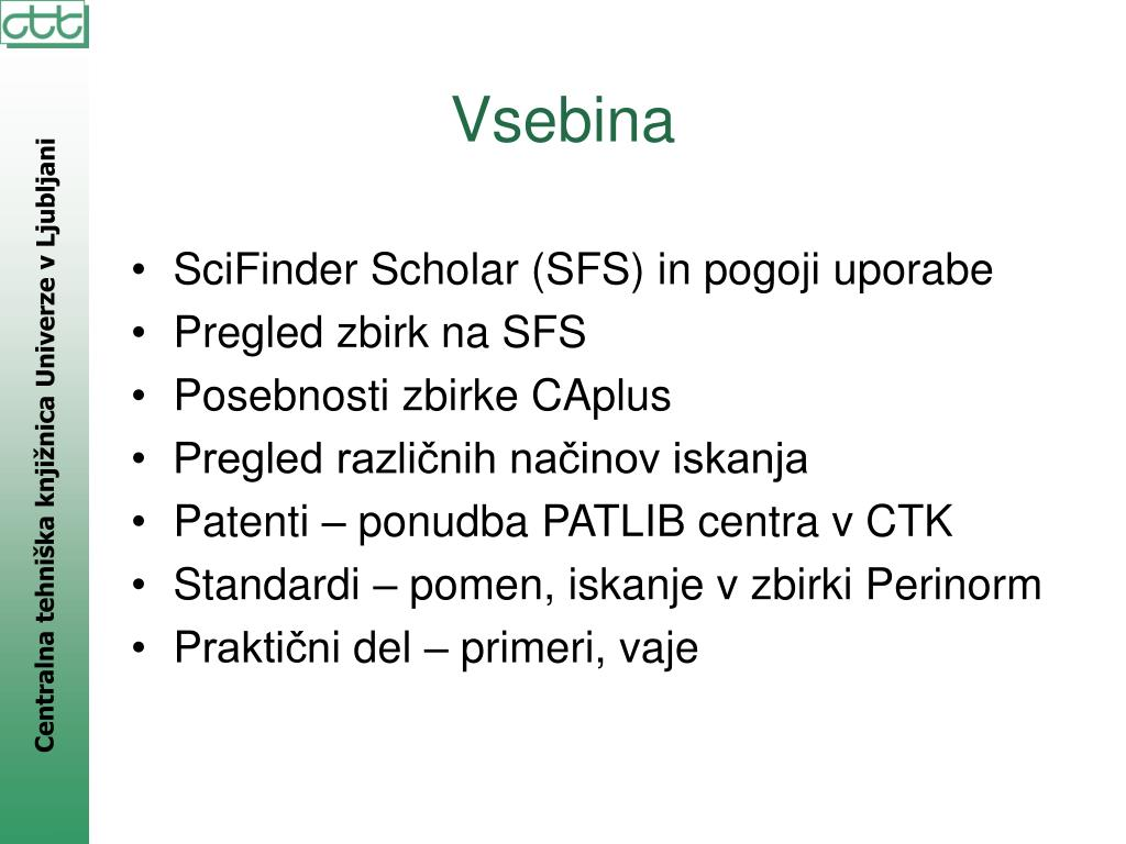 SciFinder Scholar (SFS) in pogoji uporabe