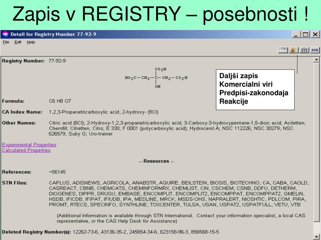 Zapis v REGISTRY – posebnosti !