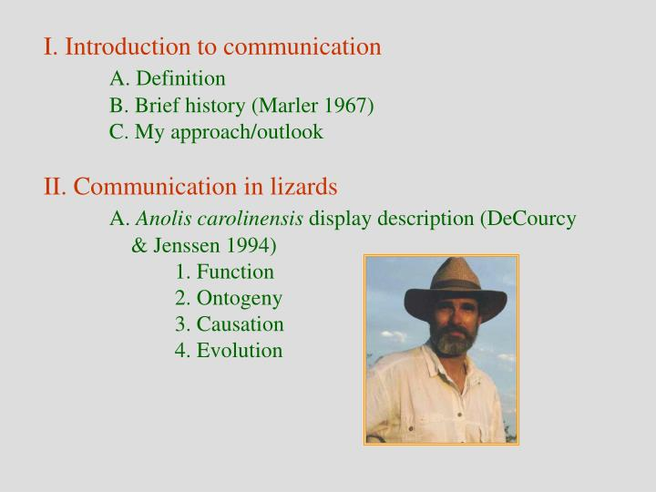I. Introduction to communication