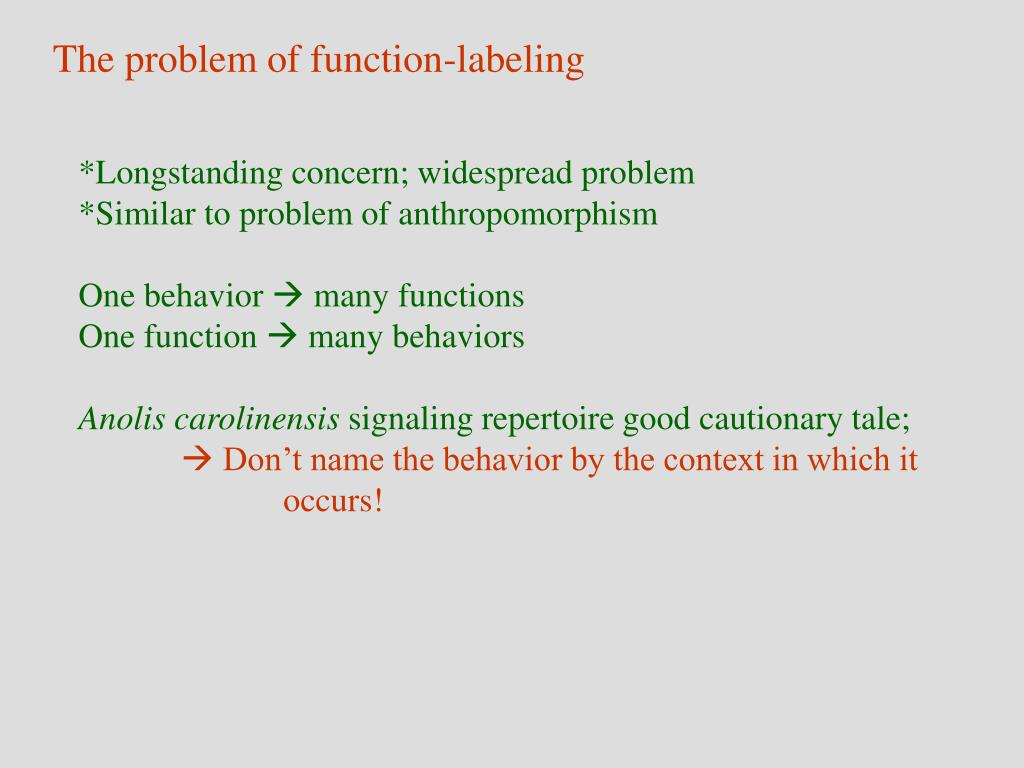 The problem of function-labeling