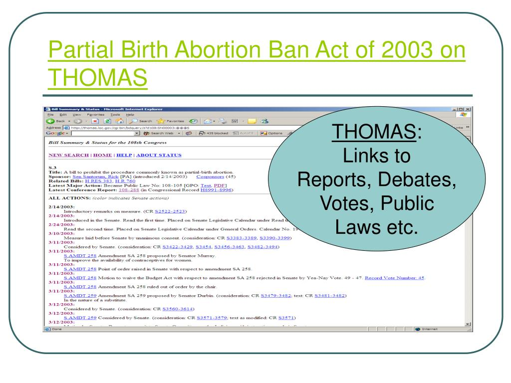 Partial Birth Abortion Ban Act of 2003 on THOMAS