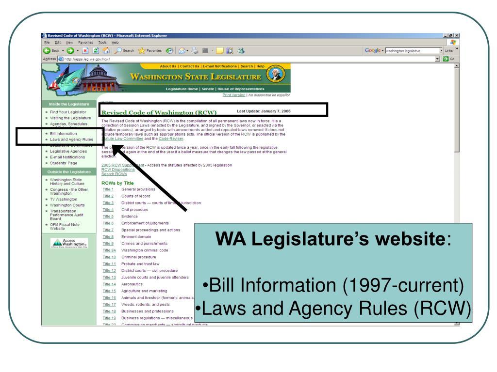 WA Legislature's website