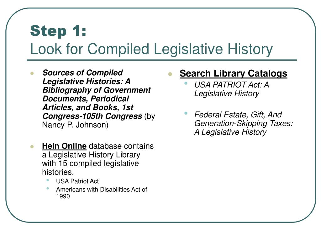 Sources of Compiled Legislative Histories: A Bibliography of Government Documents, Periodical Articles, and Books, 1st Congress-105th Congress