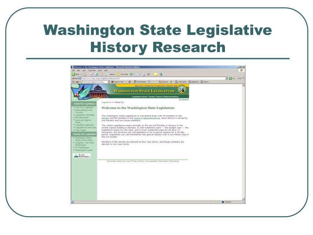 Washington State Legislative History Research