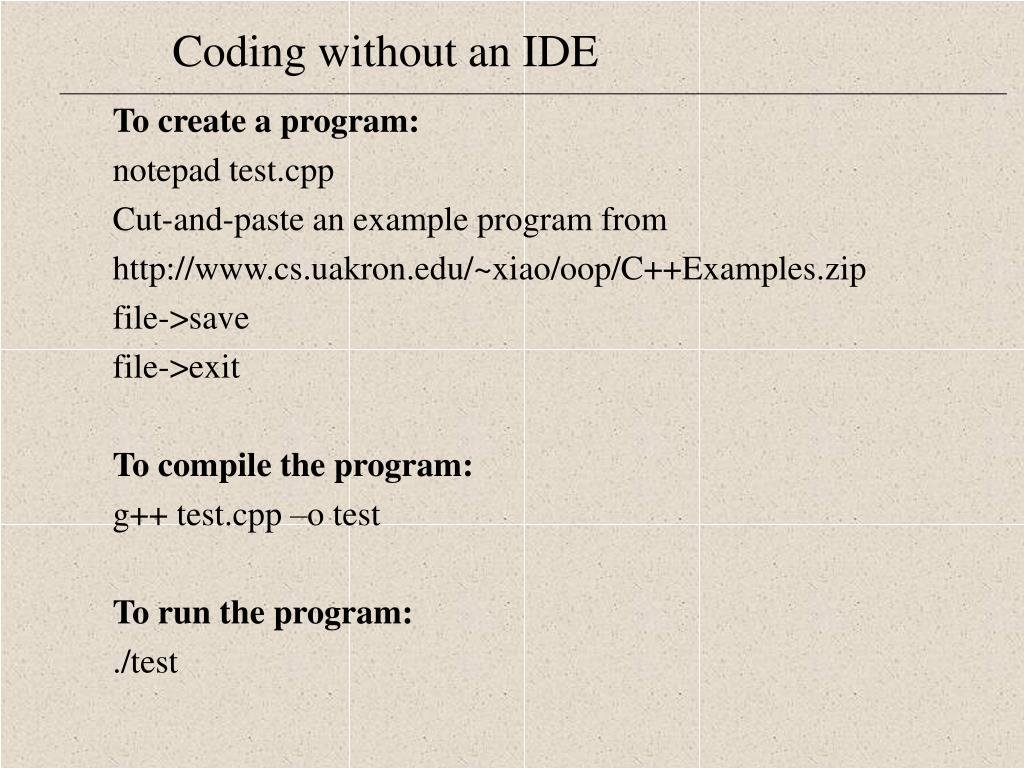 To create a program: