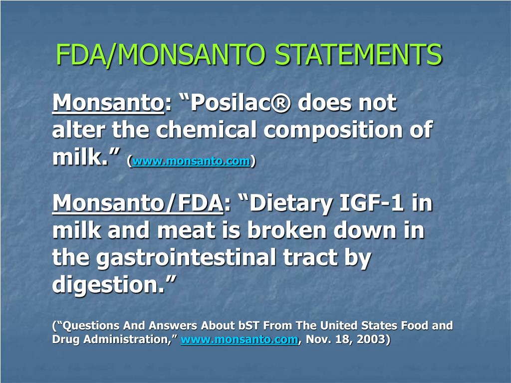 FDA/MONSANTO STATEMENTS