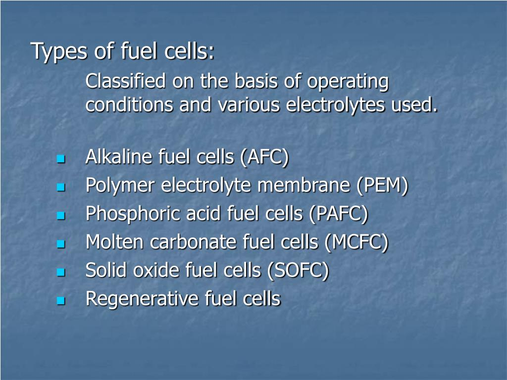 Types of fuel cells: