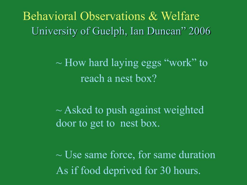 Behavioral Observations & Welfare
