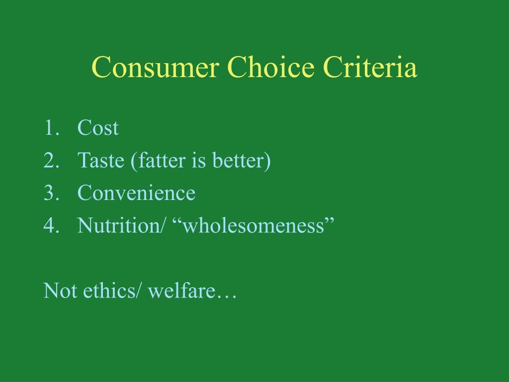 Consumer Choice Criteria