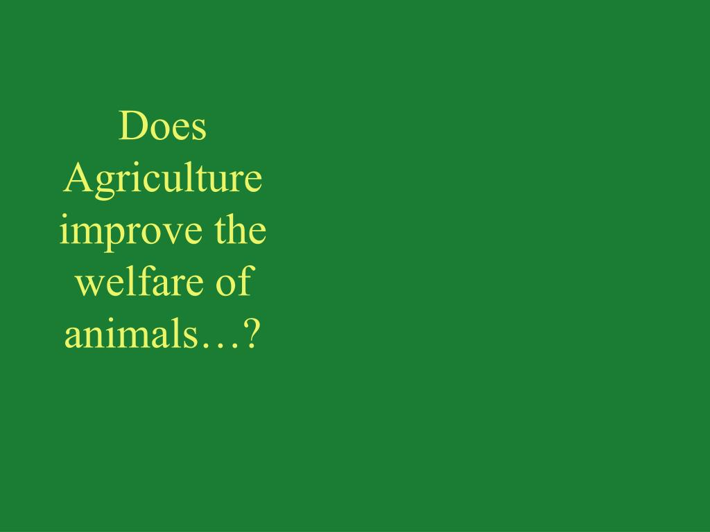 Does Agriculture improve the welfare of animals…?