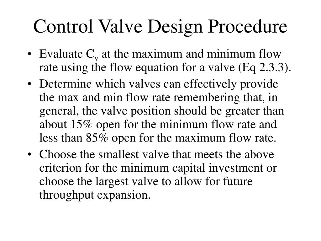 Control Valve Design Procedure