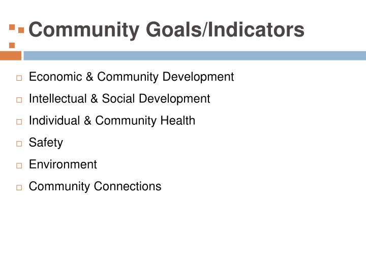 Community goals indicators