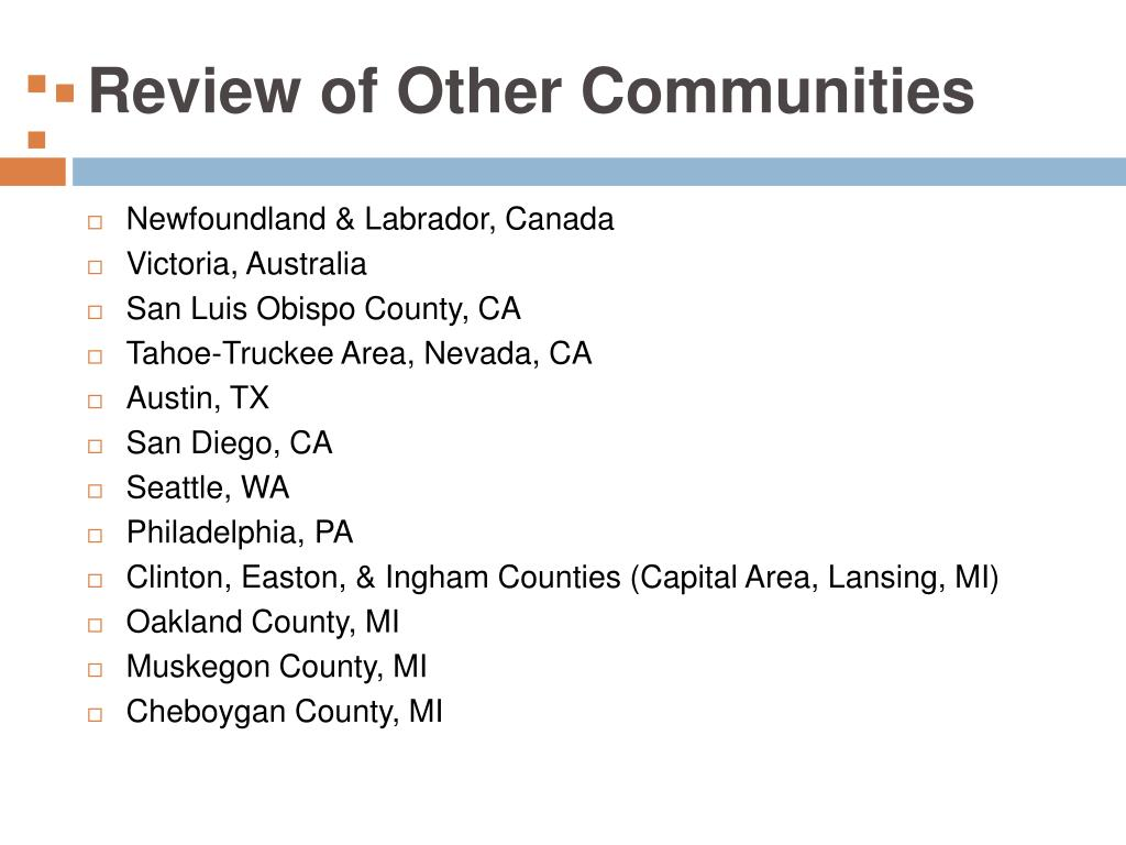 Review of Other Communities
