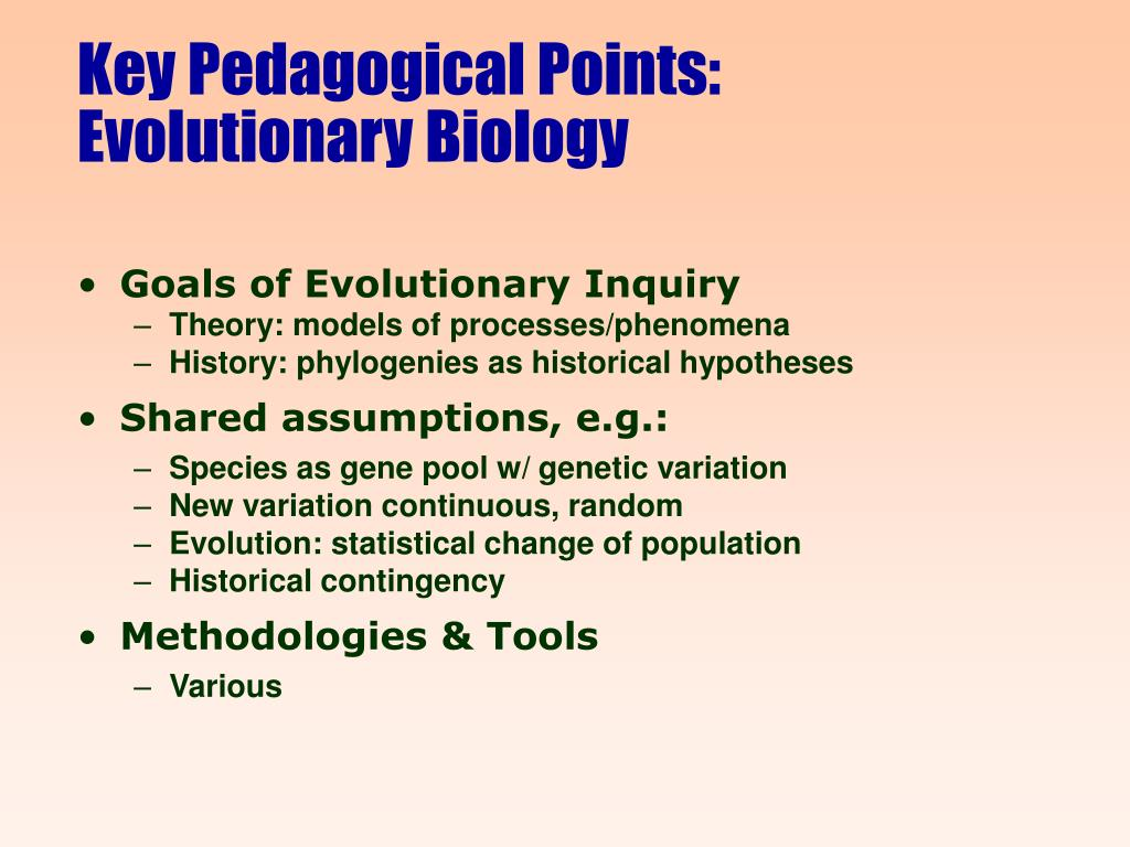 Key Pedagogical Points: Evolutionary Biology