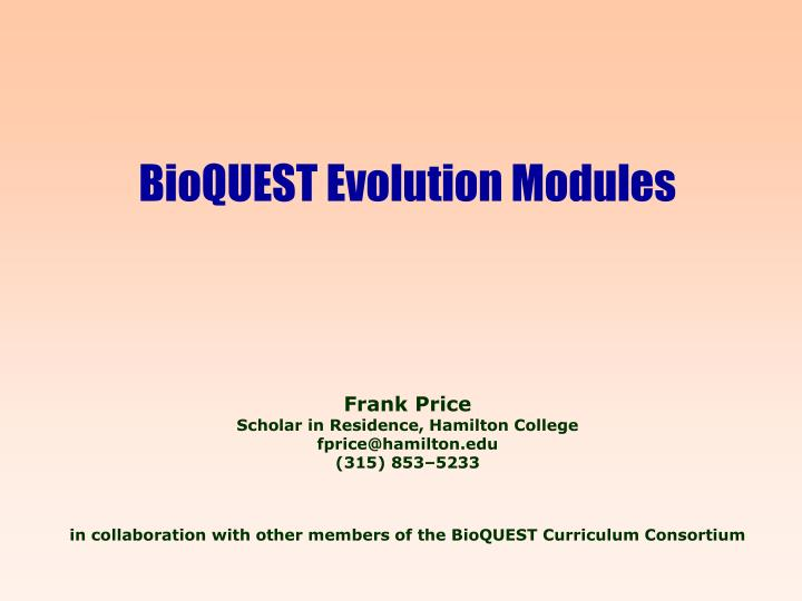 BioQUEST Evolution Modules