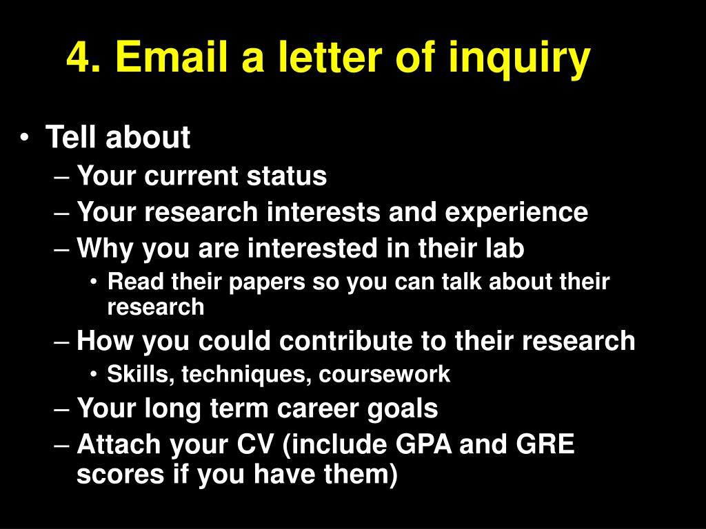 4. Email a letter of inquiry