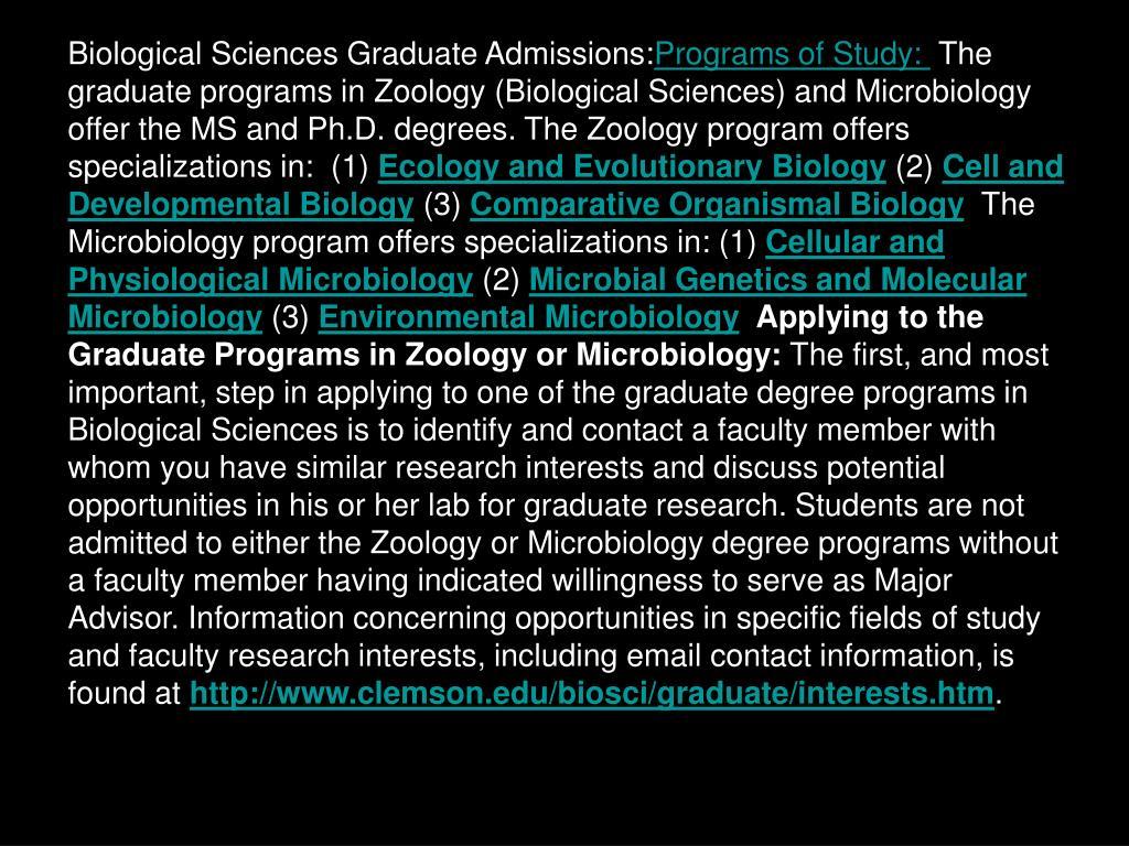 Biological Sciences Graduate Admissions: