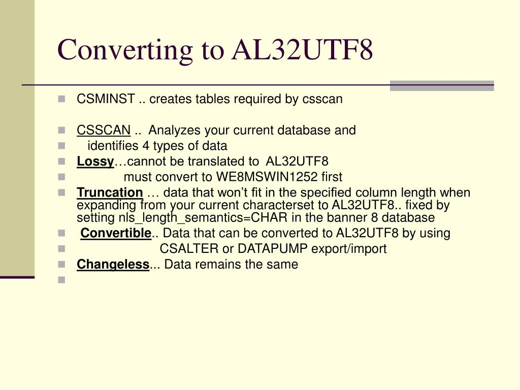 Converting to AL32UTF8