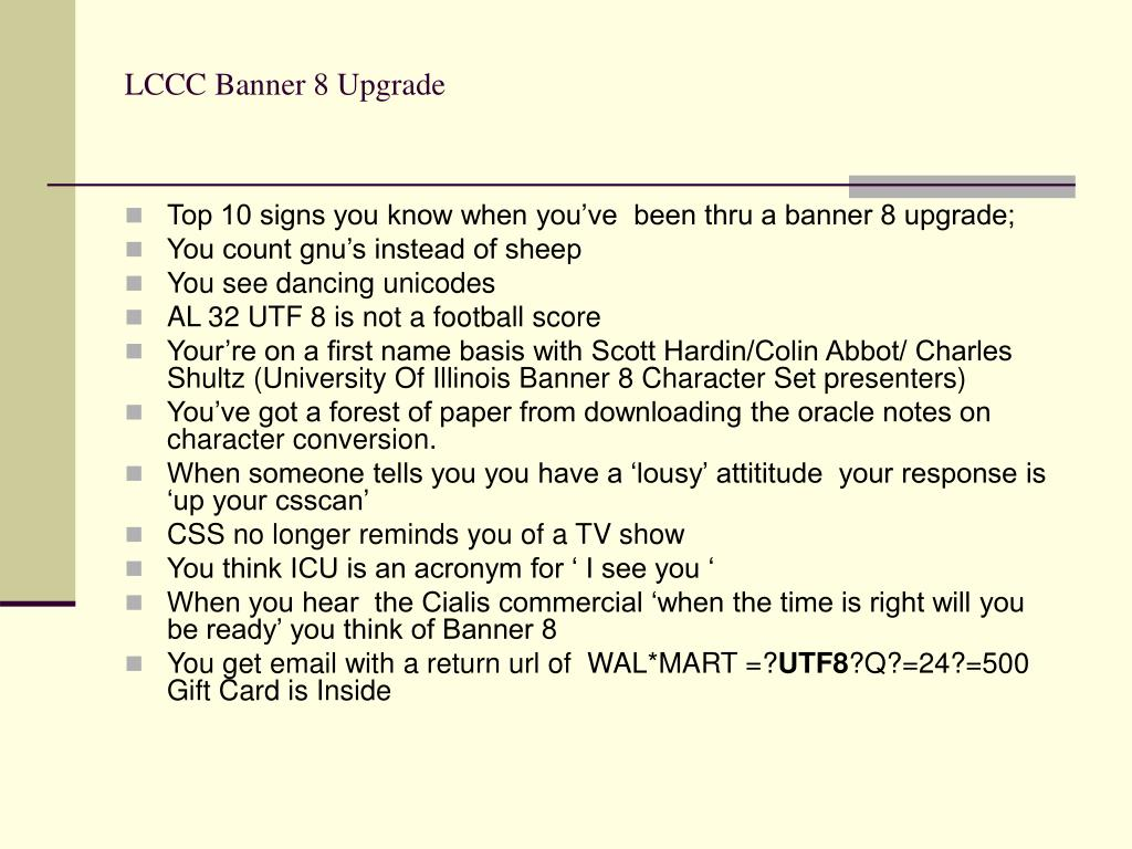 LCCC Banner 8 Upgrade