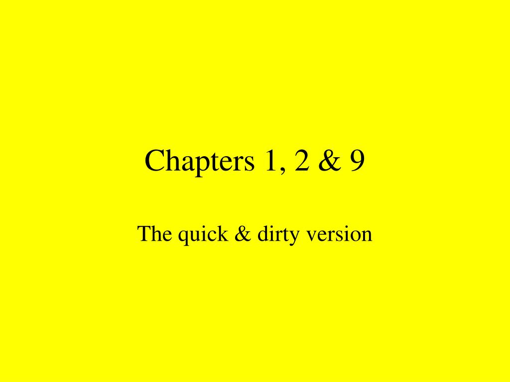 Chapters 1, 2 & 9
