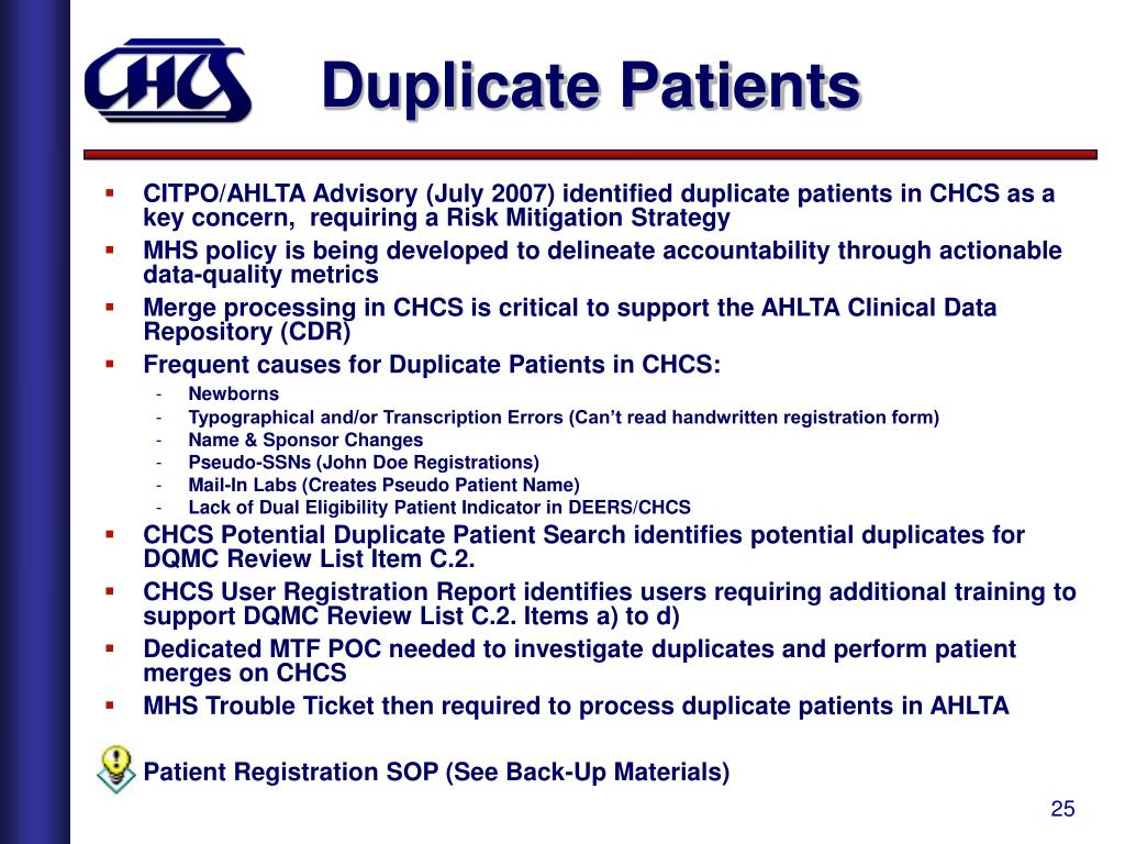 Duplicate Patients