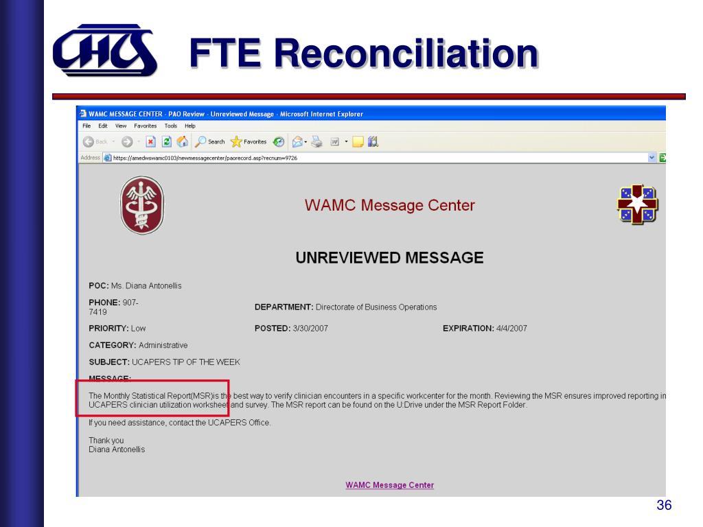 FTE Reconciliation