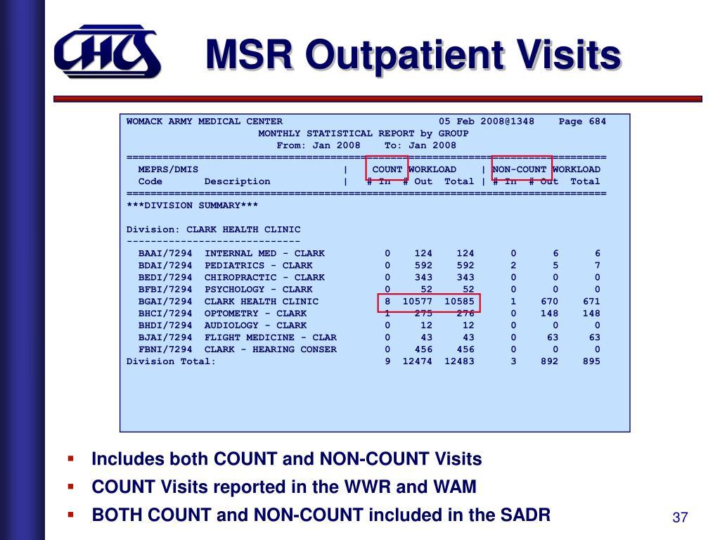 MSR Outpatient Visits