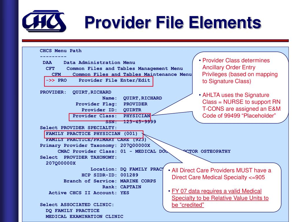 Provider File Elements