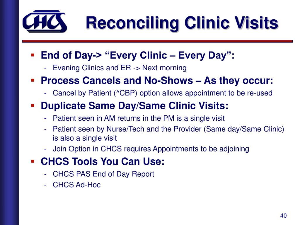 Reconciling Clinic Visits