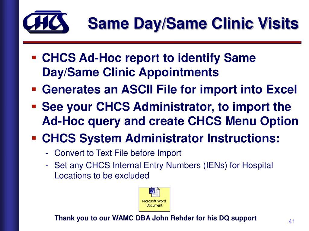Same Day/Same Clinic Visits