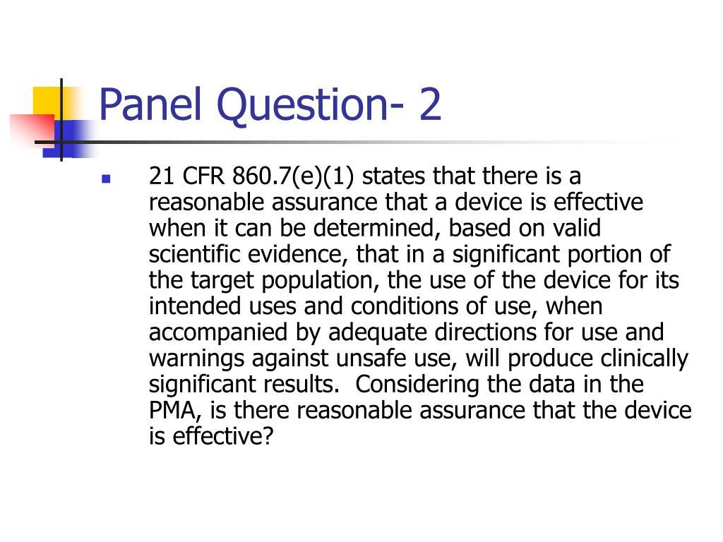 Panel Question- 2